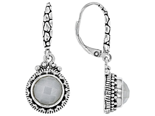 Artisan Collection Of Bali™ 8mm Round White Moonstone Sterling Silver Dangle Earrings