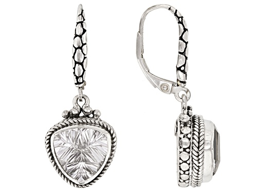 Photo of Artisan Collection Of Bali™ 5.62ctw 10mm Trillion Crystal Quartz Sterling Silver Dangle Earrings
