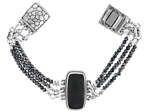 Photo of Artisan Collection Of Bali™ Volcanic Rock And Black Spinel Bead Sterling Silver Bracelet - Size 7