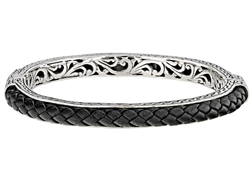Photo of Artisan Collection Of Bali™ Sterling Silver And Leather Woven Bangle Bracelet - Size 6.75
