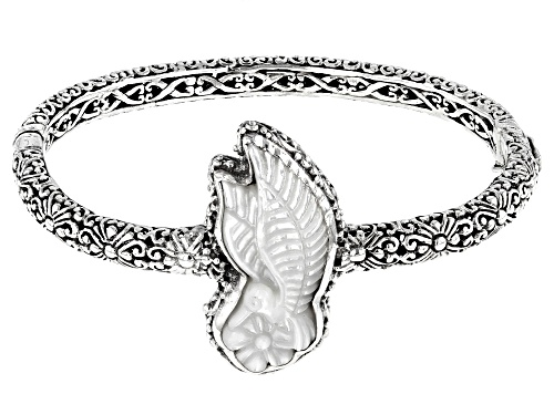 Photo of Artisan Collection Of Bali™ 30x13mm Carved White Mother of Pearl Hummingbird Silver Bracelet - Size 6.75