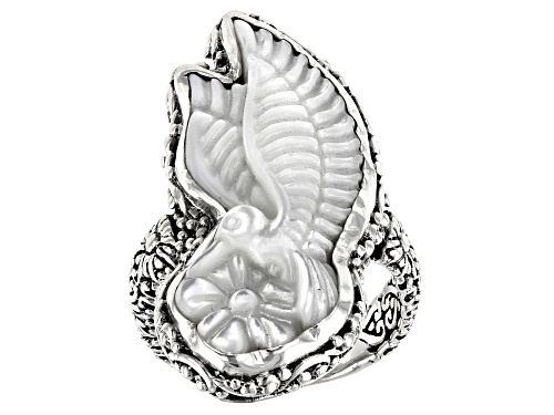 Photo of Artisan Collection Of Bali™ 30x13mm Carved White Mother Of Pearl Hummingbird Silver Solitaire Ring - Size 8