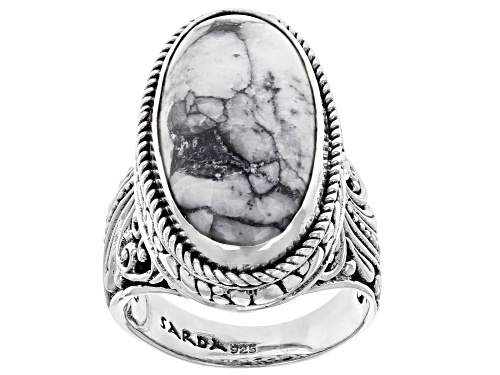 Photo of Artisan Collection Of Bali™ 24x12mm Oval Pinolith Cabochon Sterling Silver Solitaire Ring - Size 6