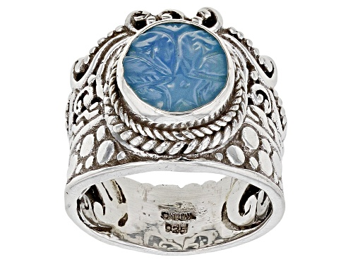 Photo of Artisan Collection Of Bali™ 10mm Round Carved Blue Onyx Flower Sterling Silver Solitaire Ring - Size 8