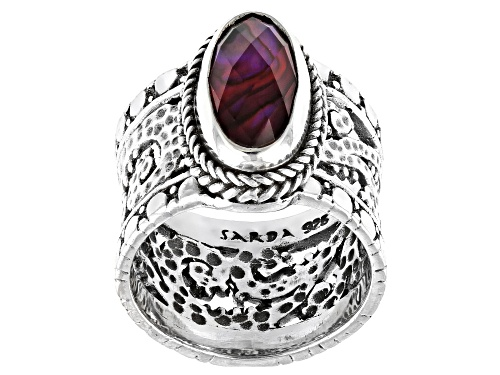 Artisan Collection Of Bali™ 14x7mm Oval, Checkerboard Cut Purple Abalone Triplet Silver Ring - Size 9