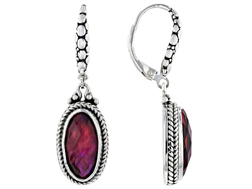 Photo of Artisan Collection Of Bali™ 14x7mm Oval, Checkerboard Cut Purple Abalone Triplet Silver Earrings