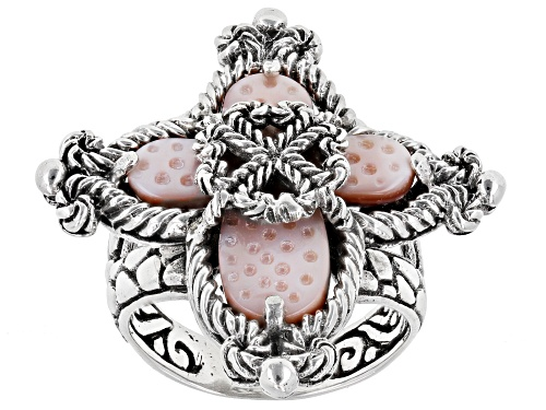 Photo of Artisan Collection Of Bali™ 20x18mm Carved Pink Mother Of Pearl Cross Silver Solitaire Ring - Size 10