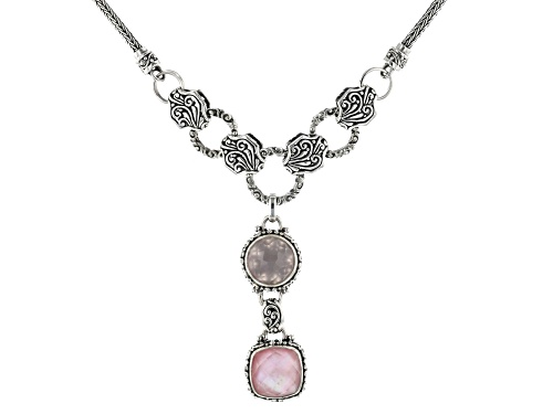 Photo of Artisan Collection Of Bali™ Light Pink Quartz Doublet And 5.04ct Rose Quartz Silver Necklace - Size 18