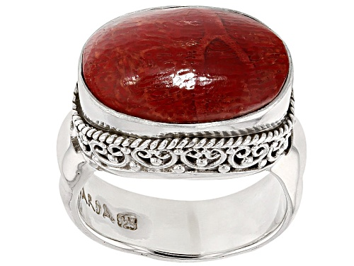 Photo of Artisan Gem Collection Of Bali™ Oval Cabochon Red Coral Sterling Silver Solitaire Ring - Size 5