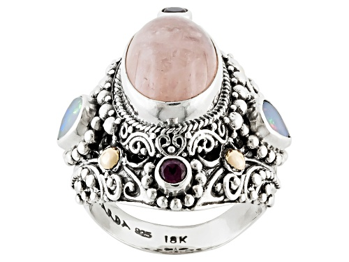 Photo of Artisan Collection Of Bali™Morganite, .13ctw Opal & Rhodolite Silver W/18k Gold Over Silver Ring - Size 4