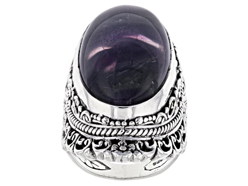 Photo of Artisan Collection Of Bali™ 25x15mm Oval Banded Fluorite Doublet Silver Solitaire Ring - Size 7
