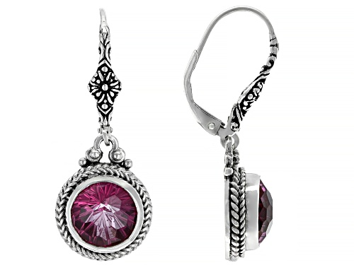 Photo of Artisan Collection Of Bali™ 5.48ctw 8mm Round Pure Pink™ Topaz Silver Dangle Earrings