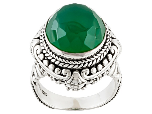 Photo of Artisan Gem Collection Of Bali™ 13mm Round Green Onyx Sterling Silver Solitaire Ring - Size 4
