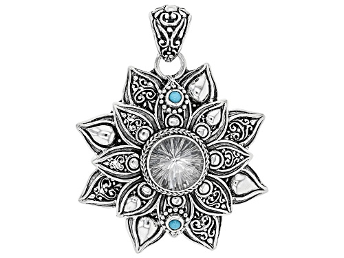 Photo of Artisan Collection Of Bali™ 5.23ct Round Quartz And 3mm Sleeping Beauty Turquoise Silver Pendant