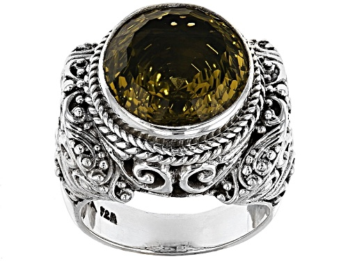 Photo of Artisan Gem Collection Of Bali™ 8.00ct Round Olive Quartz Sterling Silver Soitaire Ring - Size 4