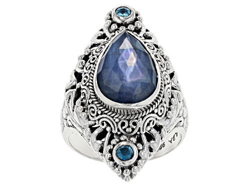 Photo of Artisan Gem Collection Of Bali™ Blue Sapphire Triplet And .20ctw Swiss Blue Topaz Silver Ring - Size 12