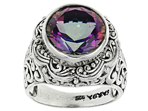 Photo of Artisan Gem Collection Of Bali™ 7.36ct Odyssey Green™ Mystic® Quartz Silver Solitaire Ring - Size 12