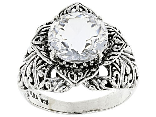 Photo of Artisan Gem Collection Of Bali™ 5.70ct 12mm Round Crystal Quartz Silver Floral Solitaire Ring - Size 11