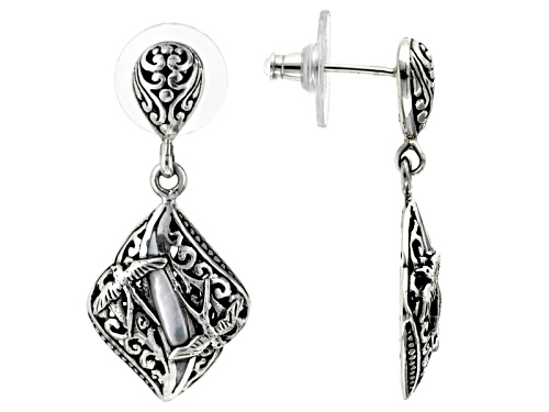 Photo of Artisan Gem Collection Of Bali™ Fancy Shape Mother Of Pearl Sterling Silver Dangle Bird Earrings