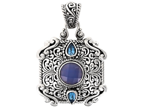 Photo of Artisan Gem Collection Of Bali™ Blue Chalcedony And .90ctw Swiss Blue Topaz Silver Pendant