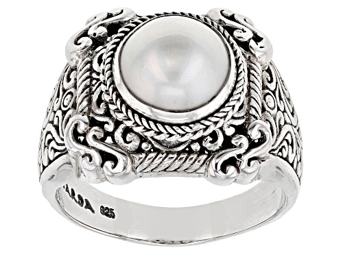 Photo of Artisan Gem Collection Of Bali™ 11mm Round Cultured White Mabe Pearl Silver Solitaire Ring - Size 12