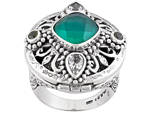 Photo of Artisan Collection Of Bali™10mm Green Onyx Doublet, 1.16ctw White Topaz And Peridot Silver Ring - Size 12