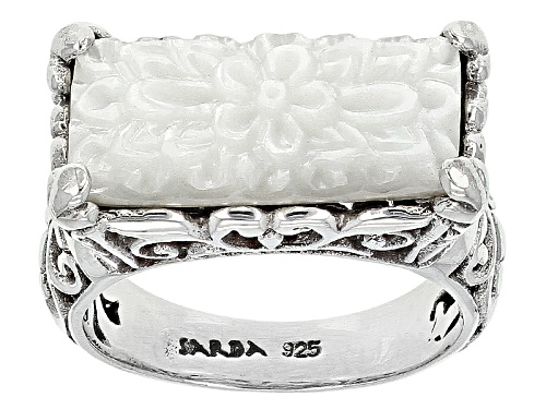 Photo of Artisan Gem Collection Of Bali™20x8mm Carved White Mother Of Pearl Sterling Silver Solitaire Ring - Size 12