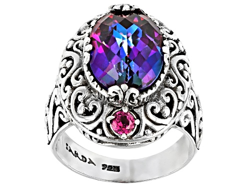 Photo of Artisan Gem Collection Of Bali™ 4.84ctw Xanadu™ Mystic Quartz® And Rhodolite Silver Ring - Size 12