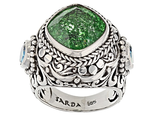 Photo of Artisan Of Bali™ 5.30ctw Green Crackle Quartz And Caribbean Crush™ Mystic Topaz® Silver Ring - Size 7
