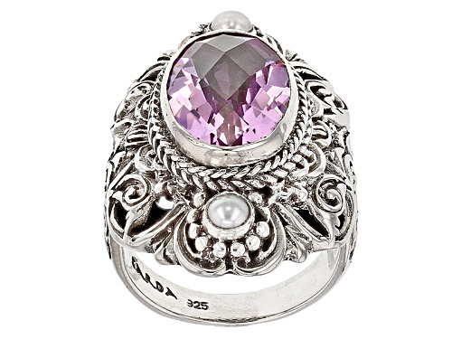 Photo of Artisan Of Bali™ Kunzite Color Pink Quartz Triplet,  Cultured White Freshwater Pearl Silver Ring - Size 12