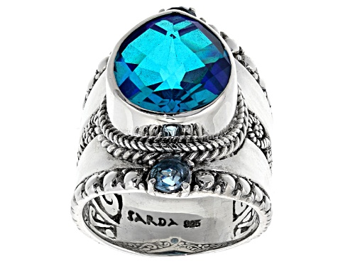 Photo of Artisan Gem Collection Of Bali™ Caribbean Quartz Triplet And .50ctw Swiss Blue Topaz Silver Ring - Size 12
