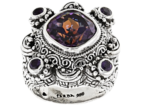 Photo of Artisan Gem Collection Of Bali™ 4.75ctw Flashback™ Mystic Quartz® And Amethyst Silver Ring - Size 8