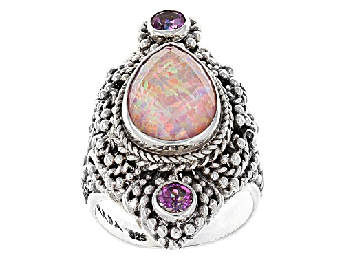 Photo of Artisan Gem Collection Of Bali™ Pink Opal Simulant Doublet And .50ctw Mystic Topaz® Silver Ring - Size 6