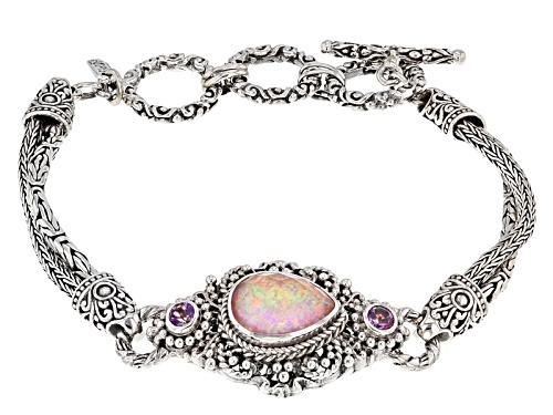 Artisan Collection Of Bali™ Pink Opal Simulant Doublet And .50ctw Mystic Topaz® Silver Bracelet - Size 7.25