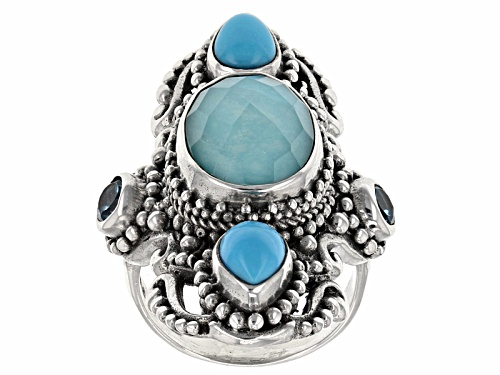 Photo of Artisan Gem Collection Of Bali™ Mexican Turquoise Doublet And .60ctw Multi-Gem Silver Ring - Size 6