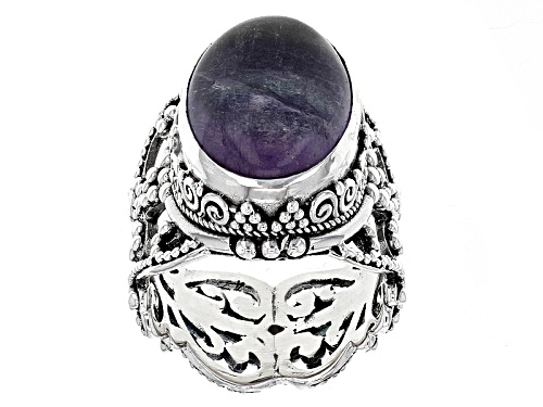 Photo of Artisan Gem Collection Of Bali™ 18x13mm Oval Purple Fluorite Sterling Silver Solitaire Ring - Size 5