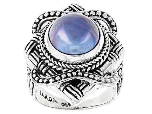 Photo of Artisan Gem Collection Of Bali™ 12mm Cultured Peacock Grey Mabe Pearl Silver Solitaire Ring - Size 12