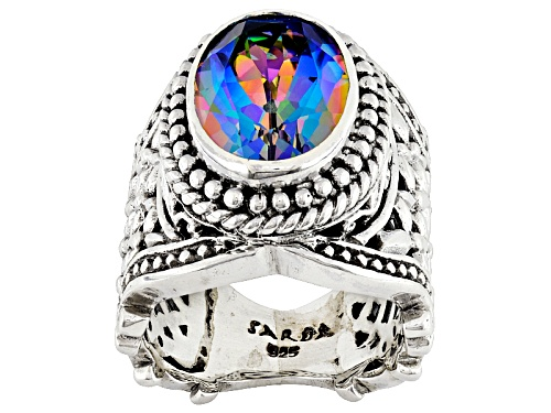 Artisan Gem Collection Of Bali™ 4.50ct Richey Blue™ Quartz Silver Solitaire Ring - Size 6