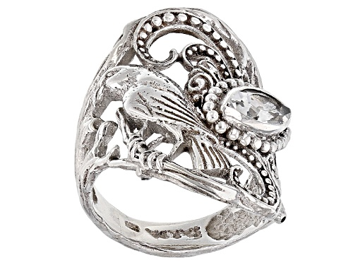 Photo of Artisan Gem Collection Of Bali™ .80ct Marquise White Topaz Silver Solitaire Bird Ring - Size 6