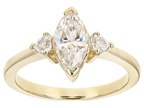Photo of 1.25CT MARQUISE CUT FABULITE STRONTIUM TITANATE AND .31CTW HEART SHAPE ZIRCON 10K YELLOW GOLD RING - Size 8