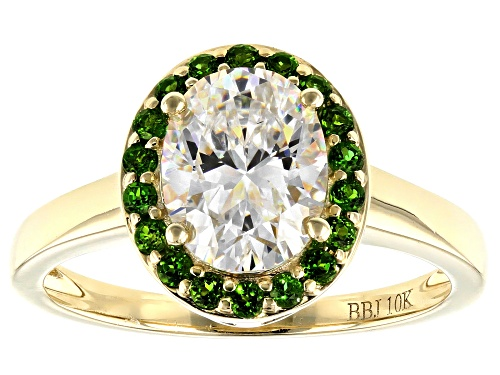 Photo of 2.25CT OVAL FABULITE STRONTIUM TITANATE AND .24CTW ROUND CHROME DIOPSIDE 10K YELLOW GOLD RING - Size 9