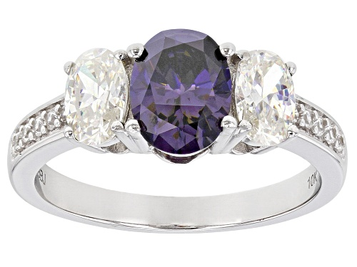 Photo of 2.50CTW PURPLE AND WHITE FABULITE STRONTIUM TITANATE AND .11CTW WHITE ZIRCON 10K WHITE GOLD RING - Size 9