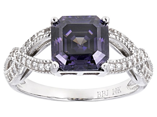 Photo of 3.25CT QCTAGONAL ASSCHER PURPLE FABULITE STRONTIUM TITANATE AND .26CTW ZIRCON 10K WHITE GOLD RING - Size 6