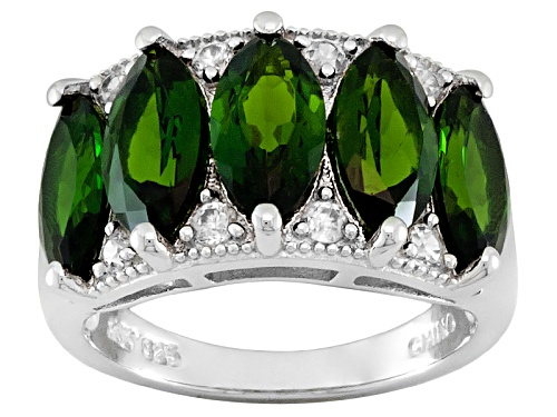 Photo of 4.95ctw Marquise Chrome Diopside With .32ctw Round White Zircon Sterling Silver 5-Stone Ring - Size 5