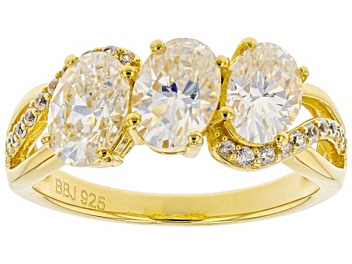 Photo of 3.03CTW FABULITE STRONTIUM AND .18CTW WHITE ZIRCON 18K YELLOW GOLD OVER SILVER RING - Size 8