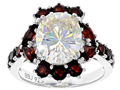 Photo of 4.25CT FABULITE STRONTIUM TITANATE AND  1.83CTW RED GARNET RHODIUM OVER SILVER RING - Size 6