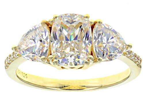 Photo of 3.70CTW FABULITE STRONTIUM TITANATE AND .06CTW WHITE ZIRCON 18K YELLOW GOLD OVER SILVER RING - Size 6