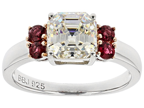 Photo of 2.64CT FABULITE STRONTIUM TITANATE AND .36CTW RED SPINEL RHODIUM OVER STERLING SILVER RING - Size 10