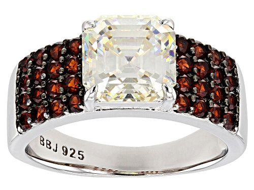 Photo of 3.70CT FABULITE STRONTIUM TITANATE .93CTW RED GARNET RHODIUM OVER STERLING SILVER RING - Size 7