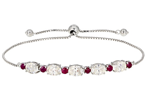 Photo of 5.80CTW FABULITE STRONTIUM TITANATE AND  .90CTW MOZAMBIQUE RUBY SILVER ADJUSTABLE BRACELET